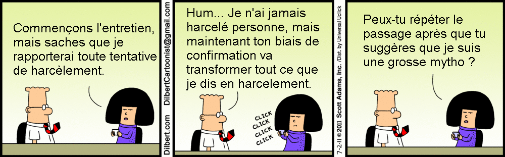Strip BD de Dilbert sur le biais de confirmation