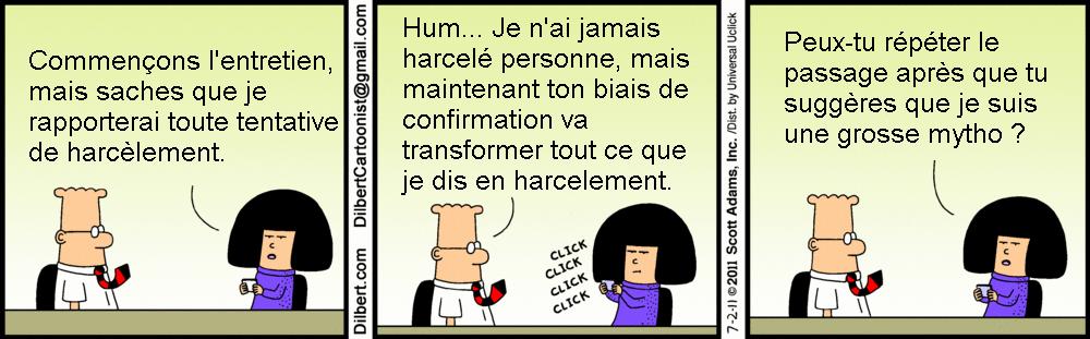 Strip BD de Dilbert sur le biais de confirmation