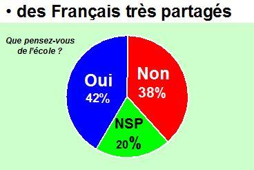 Que pensez-vous de l'école ? Oui (42%), Non (38%), NSP (20%)