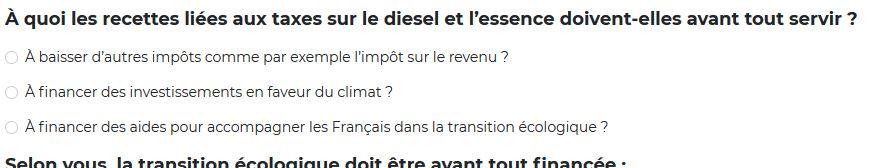 À quoi les recettes liées aux taxes sur le diesel et l'essence doivent-elles avant tout servir ?
